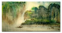 Boat,waterfall,temple - Chinese Painting