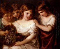 Four Children With A Basket Of Fruit