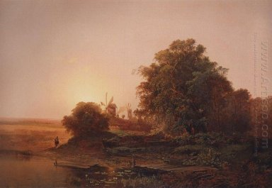 summer landscape with windmills 1859