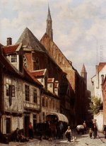 A Busy Street In Bremen With The Saint Johann Church In The Back