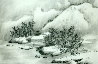 Mountains, winter - Chinese Painting