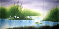 Crans in de wetlands - Chinees schilderij