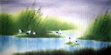Crans in the wetlands - Chinese Painting