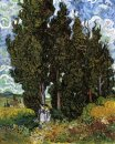 Cypresses With Two Women 1889