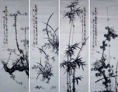 Merlin, bamboo and chrysanthemum-FourInOne - Chinese Painting
