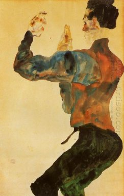 self portrait with raised arms back view 1912