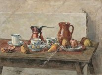 Still Life Dishes And Fruits 1953
