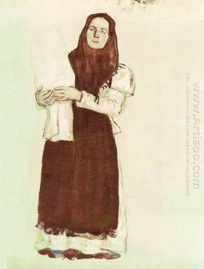 A Young Peasant Woman In A Red Scarf 1910