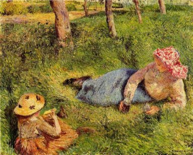 the snack child and young peasant at rest 1882