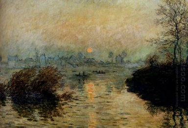 Sun Setting Over The Seine At Lavacourt Winter Effect 1880