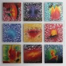 Hand-painted Abstract Oil Painting - Set of 9