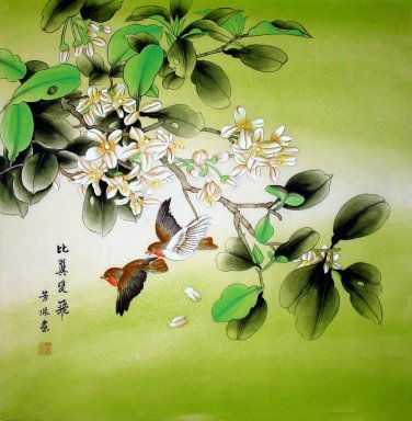 Flying Birds-flowerse - Chinese Painting