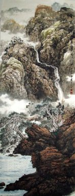 Mountains, waterfall - Chinese Painting