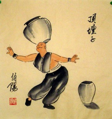 Old Beijingers, Acrobatics - Chinese painting