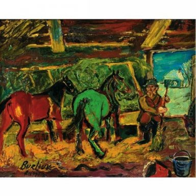 Red And Green Horses In A Stable 1956