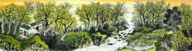 Countyard, Trees - Chinese Painting