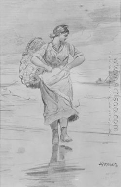 "A Fisher Girl on Beach (Sketch for illustration of ""The Incomin"