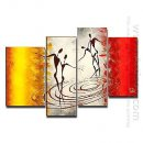 Tangan-Dicat Orang Oil Painting - Set 4