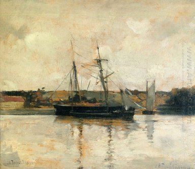 Sailing Boats Dieppe Harbor 1885