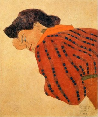 reclining woman with red blouse 1908