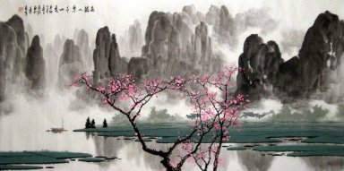 Mountains, water, Plum flower - Chinese Painting