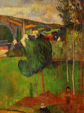 view of pont aven from lezaven 1888