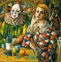 Harlequin and clown with mask