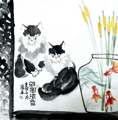 Cat & Crisantemo - la pintura china