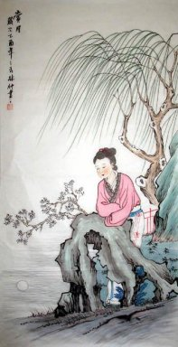 Willow,Girl-Liushu - Chinese Painting