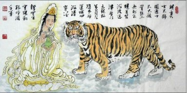 GuanShiyin, Guanyin and tiger - Chinese Painting