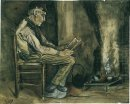 Farmer Sitting At The Fireside And Reading 1881