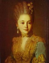 Portrait of an Unknown Woman in a Blue Dress with Yellow Trimmin
