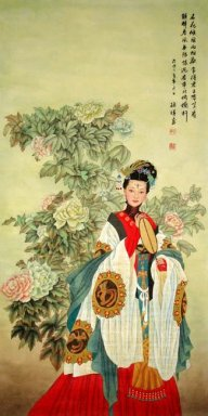 The girl are holding a fan - Chinese Painting