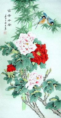 Peony&Bamboo&Birds - Chinese Painting