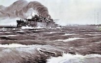 The Battle of Tsushima. Last minutes of battleship Prince Suvoro