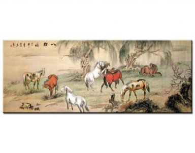 Eight Horses-Rest(Colorful) - Chinese Painting