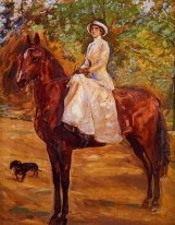 Lady in White Dress on Horseback Riding