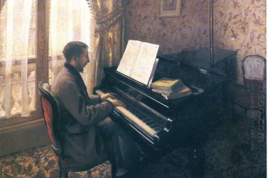 Young Man Playing The Piano 1876