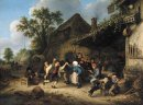 Peasants Carousing and Dancing outside an Inn