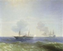 Battle Of Steamship Vesta E Ironclad turca 1877