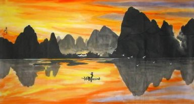 On the evening,fishing farmer - Chinese Painting