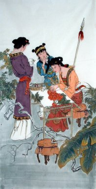 Beautiful lady, Embroidery - Chinese Painting