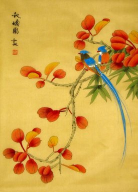 Birds&Red Leaves - Chinese Painting