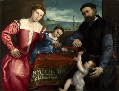Portrait Of Giovanni Della Volta With His Wife And Children 1547