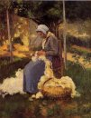 female peasant carding wool 1875