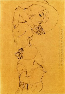 standing nude with large hat gertrude schiele 1910