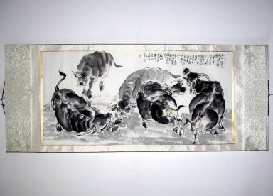 Cows - Mounted - Chinese Painting