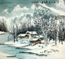 Village in the snow - Pintura Chinesa