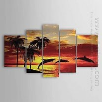Hand Painted Oil Painting Landscape - Set of 5 1211-LS0230