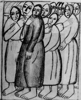 Peasant Women In A Church 1912